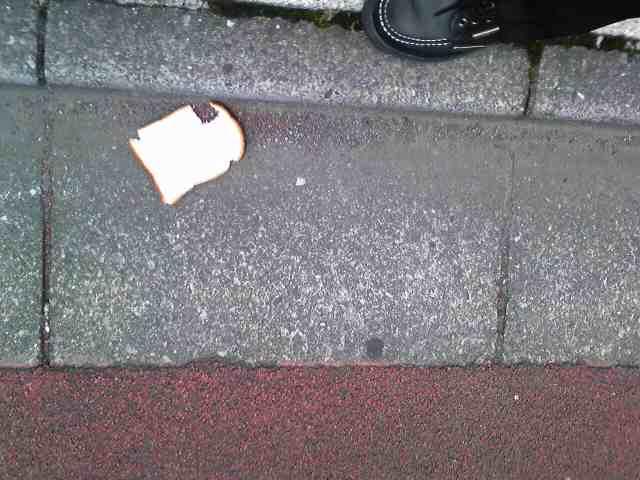 道端に食パン